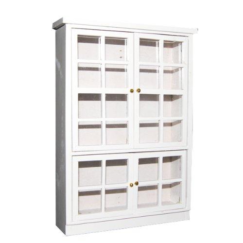 1/12 Puppenhause Miniatur Möbel Küche Esszimmer Schrank Anzeigen Regal Weiß