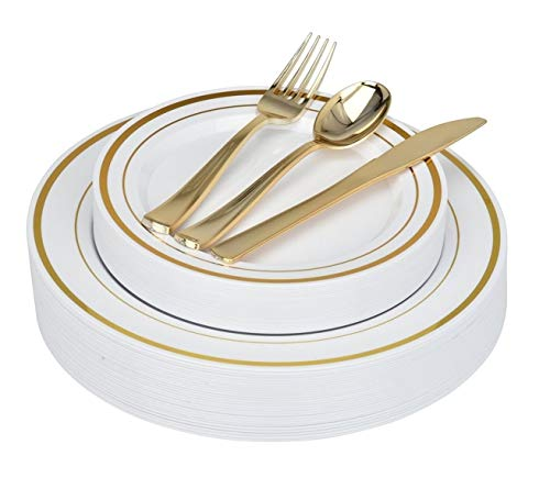 Elegant Plastic Plates with Gold Plastic Silverware - 125 Piece Gold Rim Plastic Party Plates and Cutlery for Wedding, Reception, Buffet - Service for 25 Guests Disposable Plates for Party (Gold Rim)]()