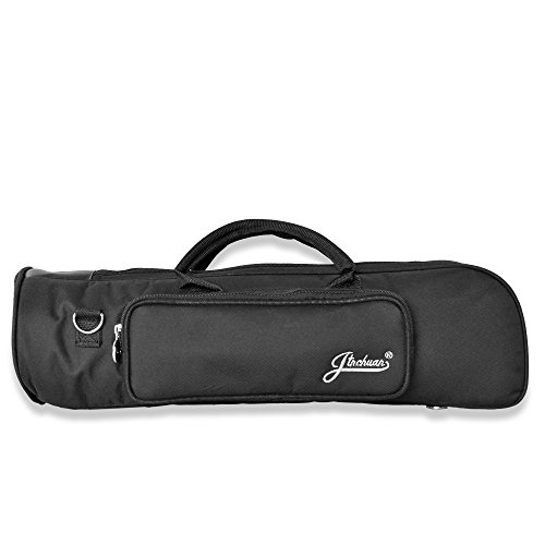 Flexzion Senior Trumpet Gig Bag Case Durable Soft Nylon Padded Portable Instrument Accessory with Double Zippers and Adjustable Shoulder Strap in Black by Flexzion (Image #1)