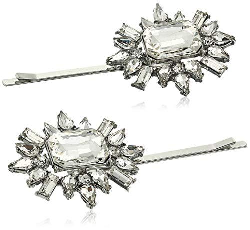 - Steve Madden Women's Floral Rhinestone Design Gunmetal-Tone Hair Pin Set