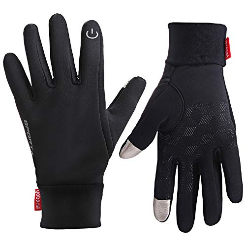 Cevapro Touch Screen Gloves, Winter Warm Gloves Non-Slip Cycling Gloves with Double Fleece Liner for Driving Climbing Hiking Running - Women & Men (Black, L)