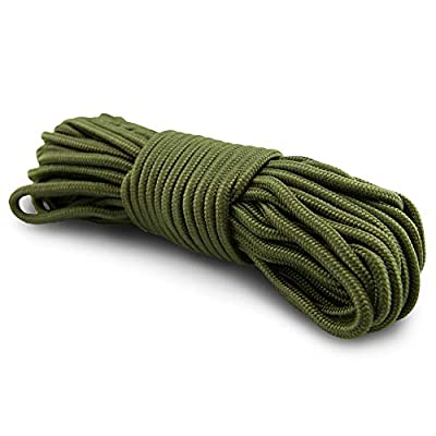 5mm Nylon Braided, 50 Foot, Multi-Purpose Camping Rope | Green (1 Pack)