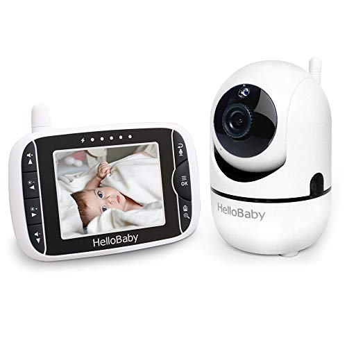 HelloBaby Wireless Video Baby Monitor with 3.2Inch LCD Display 960feet Transmission Range,Remote Camera Pan,Two-Way Talkback System, Infrared Night Vision, Rechargeable Battery