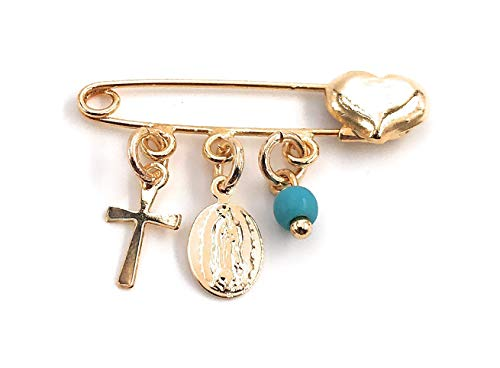 LESLIE BOULES Gold Filled Baby Brooch Pin for New Born Religious Jewelry