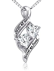 """925 Sterling Silver Always My Sister Forever My Friend Double Love Heart Necklace, Box Chain 18"""""""