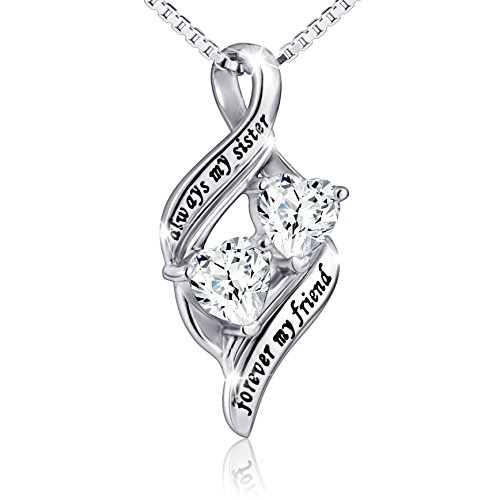 925 Sterling Silver Always My Sister Forever My Friend Double Love Heart Necklace, Box Chain 18""