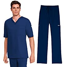 Grey's Anatomy Mens 0103 V-Neck Top & 0203 Drawstring Pant Scrub Set