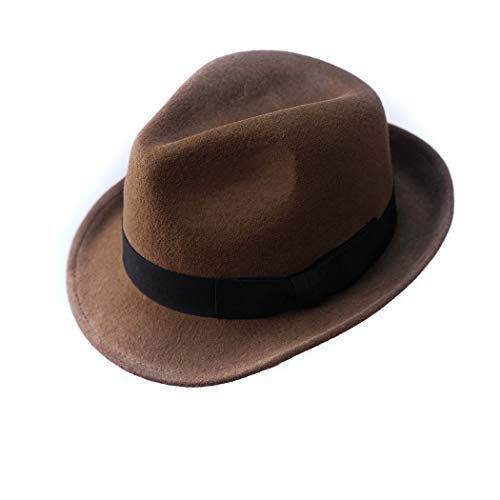 Wool Trilby Hat Felt Fedora Hats Men Women Dress Wide Brim Gangster in Brown Black Gray Blue(M,Brown) -