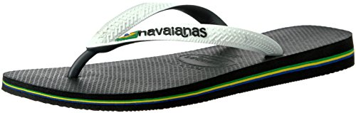 Havaianas Brazil Mix Flip Flop Sandals, Black/White, 45/46 BR (13 M US Men's)