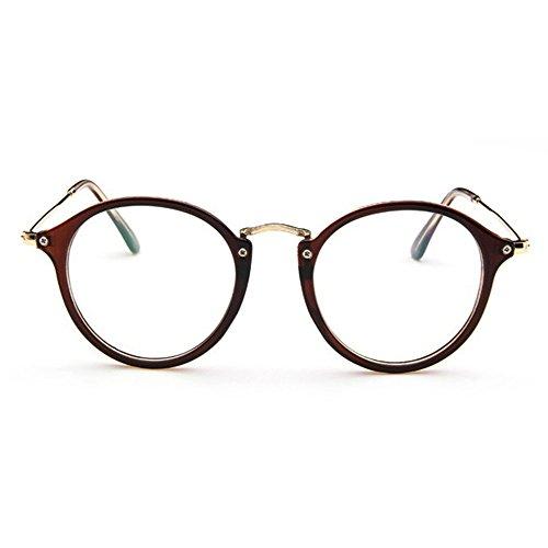 Mingus Women Fashion Round Glasses Frames Clear Lens Metal Temple Vintage Unisex Eyeglasses - - Shaped Frames Round Spectacles