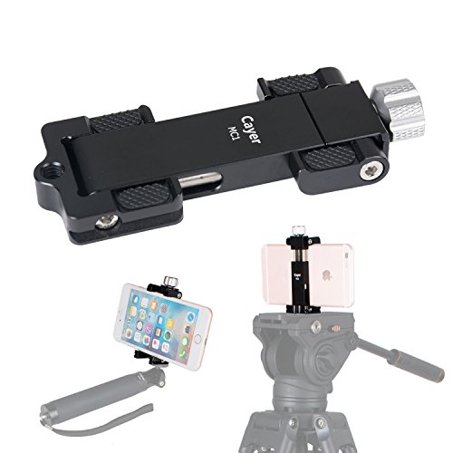 Metal Smartphone Tripod Mount, Cayer MC1 Aluminum Foldable Phone Holder Clip Adapter with Arca-Style QR Plate, Fits Cell Phone 2.5'' to 4.3'' Wide for Monopod/Tripod/Selfie Stick (Black) by Cayer
