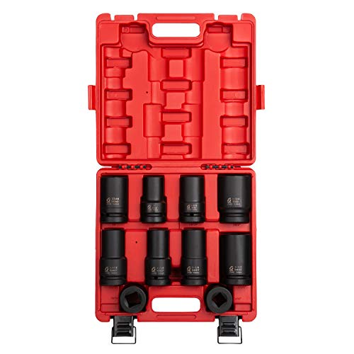 Sunex 5690A, 1 Inch Drive Heavy Duty Wheel Impact Socket Set, 10-Piece, SAE/Metric, Deep/Deep Thin Wall/Square/Controlled Depth, Cr-Mo Steel, Heavy Duty Storage Case
