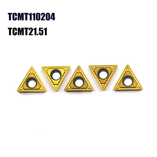 (OSCARBIDE Carbide Turning Inserts TCMT 21.51(TCMT110204) TCMT Insert Tain Coated CNC Lathe Inserts for Lathe Turning Tool Holder Replacement Insert, 5 Pieces)