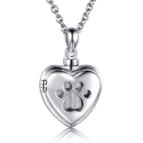 MANBU 925 Sterling Silver Cremation Jewelry for Pet Ash - Heart Locket Memorial Pendant Paw Print Urn Necklace for Dog Cat Women Remembrance Keepsake Gift for Loss of Loved Furry Friend