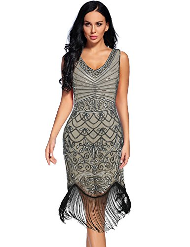 88854af77294a Women s Vintage 1920s Sequin Floral Midi Gatsby Flapper Prom Club Dress