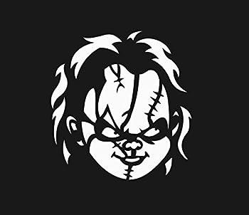 "Chucky Face 6"" White Car Truck Vinyl Decal Art Wall Sticker USA Classic Scary Movies Child's Play Badass Halloween Horror"