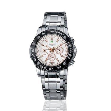 Weide Cron¨®grafo esfera blanca de acero inoxidable reloj de cuarzo suizo WH1006W