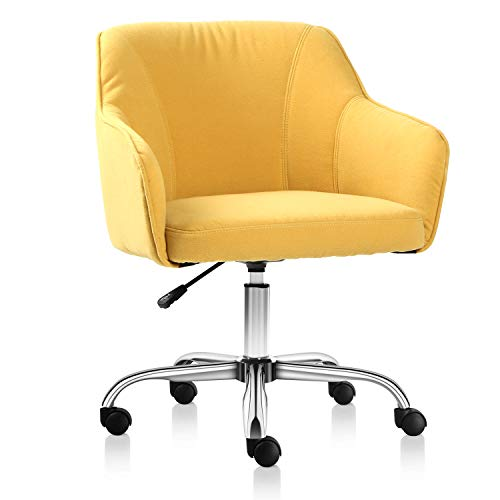 Rimiking Home Office Chair Upholstered Desk Chair with Arms for Conference Room or Office (Yellow)
