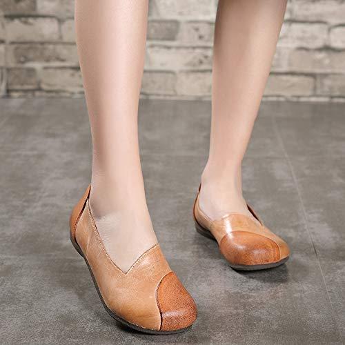 Da Donna 38 Pelle Eu Mano Scarpe colore A Di In Beige Casual Beige Fuxitoggo Misto Colore Fatte Dimensione 1XIwIf