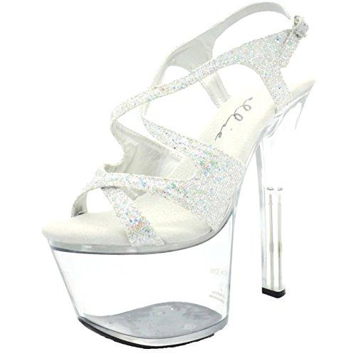 - Ellie Shoes Women's 6 Inch Heel Silver Glitter Strappy Sandal (Silver Glitter;9)