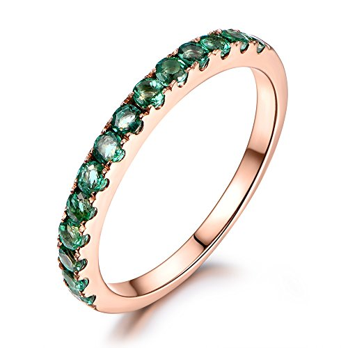 Green Tsavorite Wedding Band Solid 14K Rose Gold,Engagement Stacking Ring,Half Eternity,Anniversary Ring