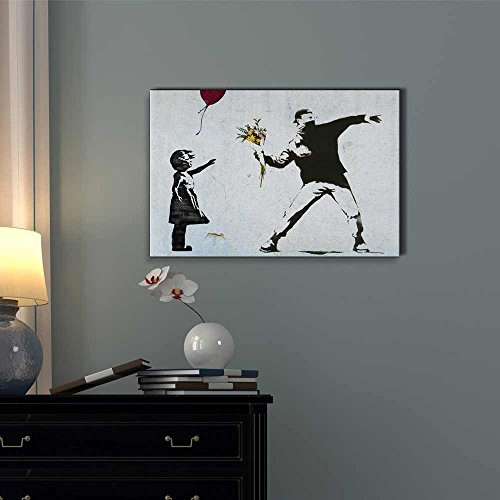 Print Balloon Girl and Rage the Flower Thrower Banksy Street Art on Stretched
