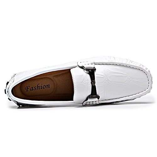 Mocasines Caminando Blanco para Cuero 42 Textura Blanco Color Hombre EU shoes tamaño Mocasines Hongjun Confort cocodrilo Zapatos Mocasines 2018 Genuino PTzcFZW0