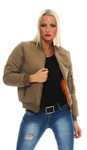CBKTTRADE - Chaqueta - Bomber Jacket - para mujer caqui