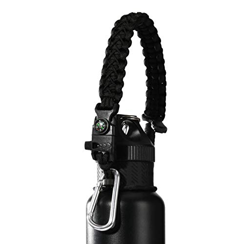 QeeLink Paracord Hande Compatible with Hydro Flask Standard Mouth Water Bottle Paracord Carrier with Safety Ring Holder - 12 oz, 18oz, 21 oz, 24 oz (Black) ()