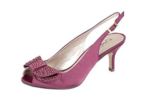 mariage à Violet soirée Bleu Slingback de argenté talon bas marine femme Sandales de pour Chaussures violet XXR6qwZ