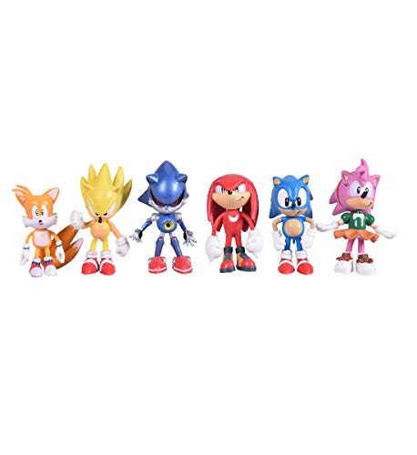 Max Fun Set of 6pcs Sonic the Hedgehog Action Figures, 5-7cm Tall Cake toppers- Classic Sonic, Amy, Super Sonic, Tails, Metal Sonic, and Knuckles -