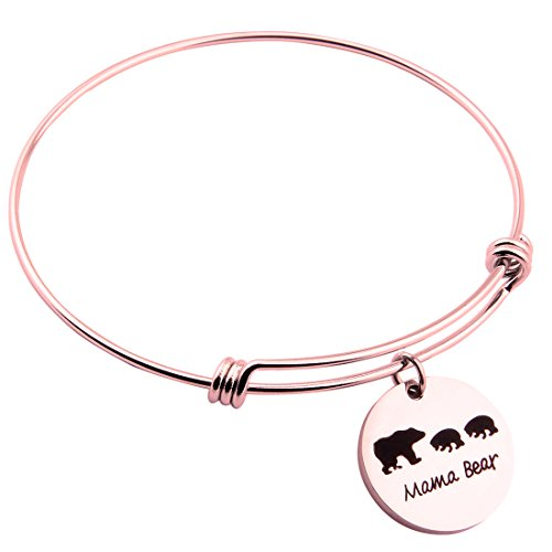 ENSIANTH Sweet Family Mama Bear Adjustable Bracelet Stainless Steel Bangle Family Jewelry Gift for Mother (RG-2cubs)