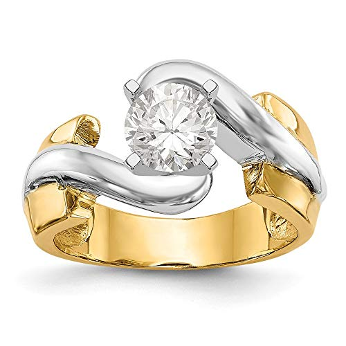 Two Tone Engagement Ring Mounting - 14k Two-tone Peg Set Solitaire Engagement Ring Mounting Size 7 Length Width