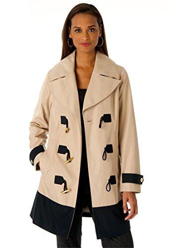 Jessica London Women's Plus Size Toggle Raincoat New Khaki,22