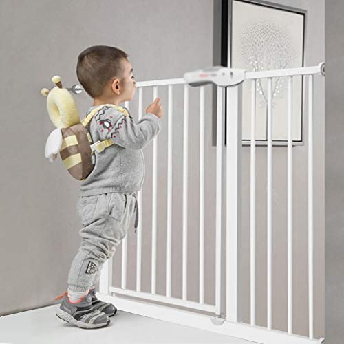 Safety Pet Gate with Door | Fits Spaces 66 to 74 cm | Metal Walk Through Safety Gate | Double Locking Swing Door | White (Size : 66-74cm)