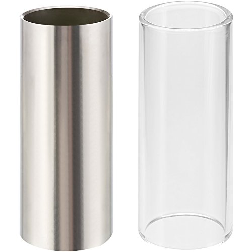 Pangda 2 Pieces Glass Slide and Stainless Steel Slide in Box for Guitar, Bass, Medium (6 cm)