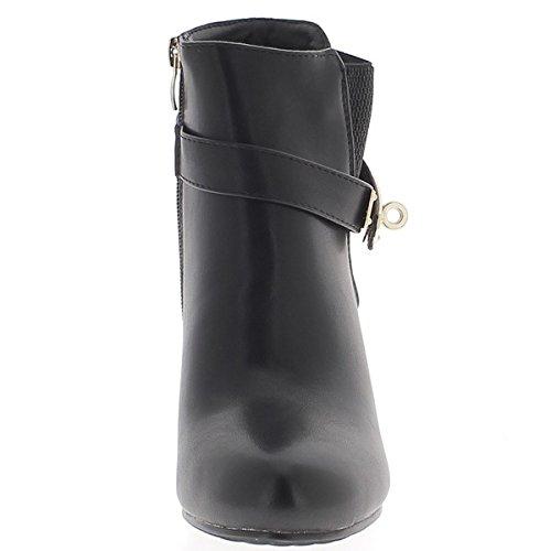 Donne nere stivali tacco 9cm in pelle liscia splendente sguardo