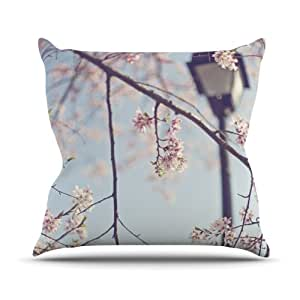 """Kess InHouse Catherine McDonald """"Walk with Me"""" Cherry Blossom Outdoor Throw Pillow, 20 by 20-Inch"""