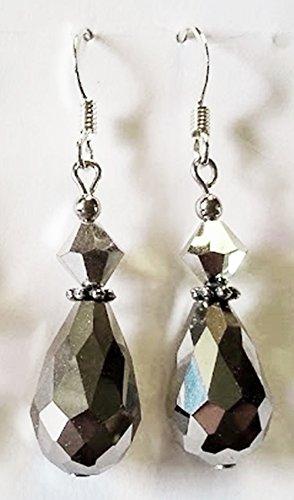 Hematite Crystal Teardrop with Swarovski Cal 2X Crystal Earrings