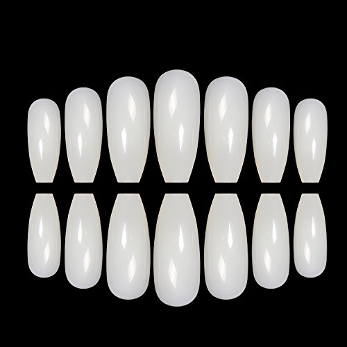 ECBASKET 500 PCS Coffin Nails Long Ballerina Fake Nail Tips 10 Sizes Perfect Length Full Coverage Acrylic False Nails (Perfect Halloween Nail Design)