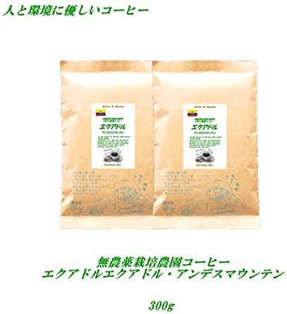 珈琲屋ほっと 無農薬栽培コーヒー エクアドル・アンデスマウンテン 300g 無農薬・有機栽培原料100% 豆のまま(推奨)