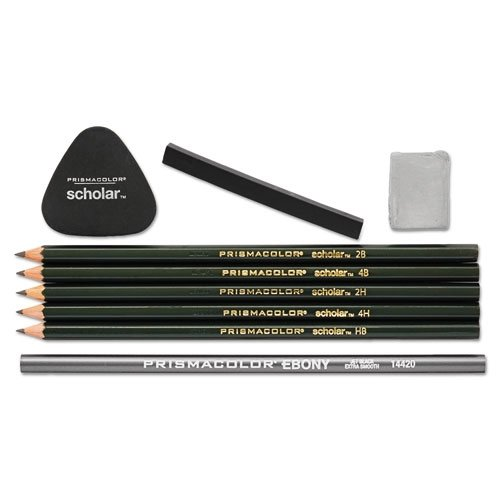 Prismacolor Art Stix Set - Prismacolor Scholar Drawing Set, with 7 Pencils & 2 Erasers, 9-Piece Kit