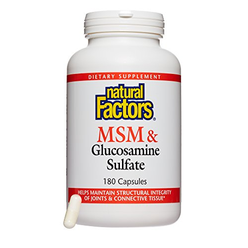 Natural Factors – MSM & Glucosamine Sulfate, Supports Structural Integrity of Joints & Connective Tissue, Gluten Free & Non-GMO, 180 Capsules