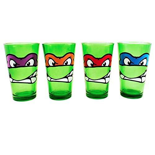 Silver Buffalo NT031P5 Nickelodeon Teenage Mutant Ninja Turtles Faces Pint Glass Set, 4-Pack]()