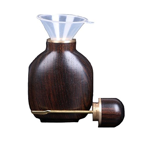 Snuff Bottle, Snuff Spoon Large-capacity Ebony BlackWood Portable Fragrance Vial with Funnel Handicrafts