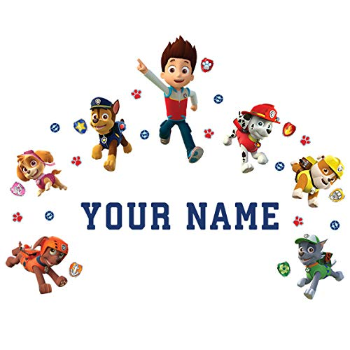 Paw Patrol Wall Decal with Personalized Kids Name