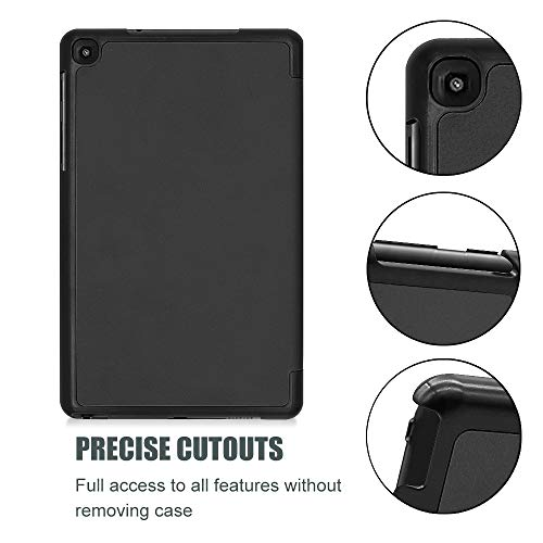 """ProCase Galaxy Tab A 8 2019 Case (SM-P200 P205), Slim Light Smart Cover Stand Hard Shell Folio Case for Galaxy Tab A 8 with S Pen 8.0"""" 2019 -Black"""