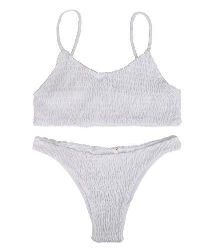Fantastic Zone Women's Sexy Solid Color Halter Shirred Bikini Swimsuit Bikini Set Bathing Suit Cover UPS Swimwear