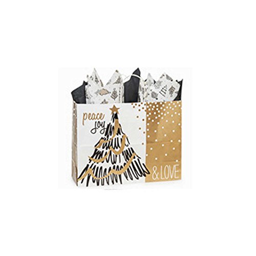 Creative Bag, Holiday Paper Shopping Bags, 16x6x12'', Golden Holiday Trees, 100ct, Merchandise, Retail, Party, Boutique, Gift, Bulk, Notion, Christmas, Holiday by Creative Bag