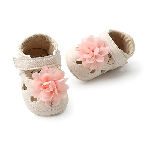 Save Beautiful Meckior Infant Baby Girls Sandas Summer Soft Leather No-Slip Princess Shoes (0-6 Months, C-Beige Pink)